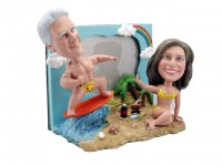 The Beach Party Surfing Photo Frame Bobblehead