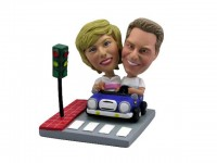 Stylish Couple in Blue Car Bobbleheads