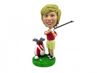 Female Golfing Bobblehead with Bag