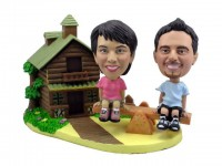 See-Saw Cottage Couple Theme Bobbleheads