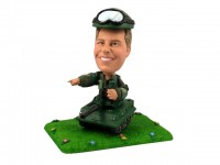 Military Soldier Bobblehead in Tank