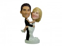 Wedding Bobbleheads Bride Jump on Groom